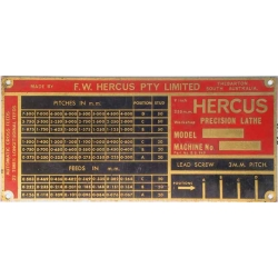 NEW Hercus 9am, 9arm gearbox index plate----part No.16b0949