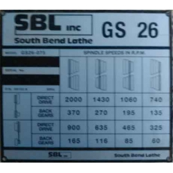 NEW Southbend GS-26 headstock speed plate----part No.5H153 A