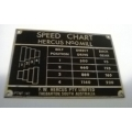 NEW Hercus 0 mill speed chart  95-1140-- Part No.10L0141