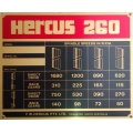 NEW genuine Hercus 260 standard speed chart--part No.5H151